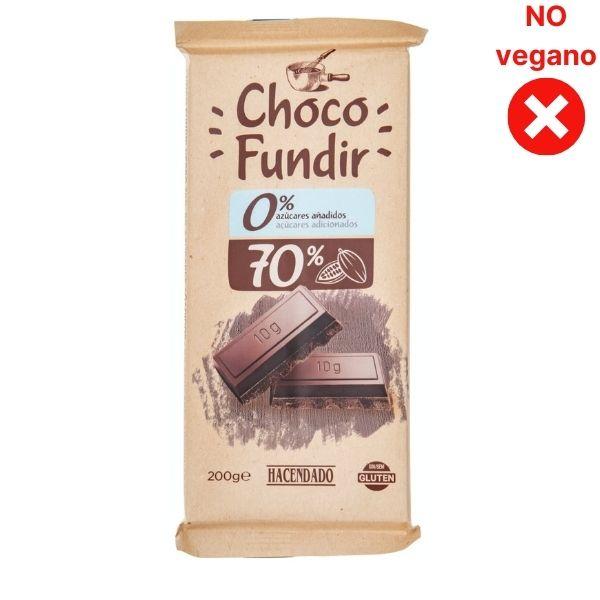 Chocolate negro para fundir sin azucar Mercadona vegano