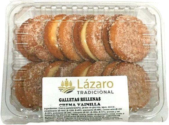 Galletas rellenas de crema pastelera veganas