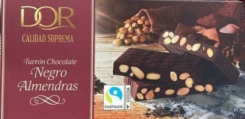 Turrón de chocolate negro y almendras DOR Lidl vegano