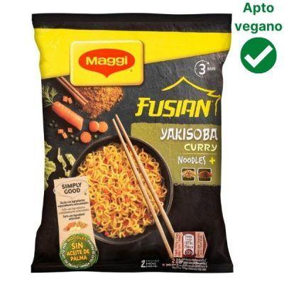 Fideos Yakisoba curry Maggi veganos