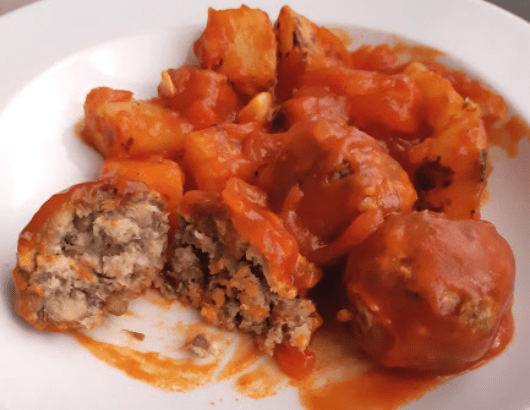Salsa para albóndigas veganas