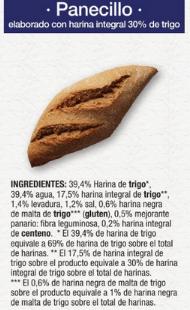Pan integral Lidl ingredientes