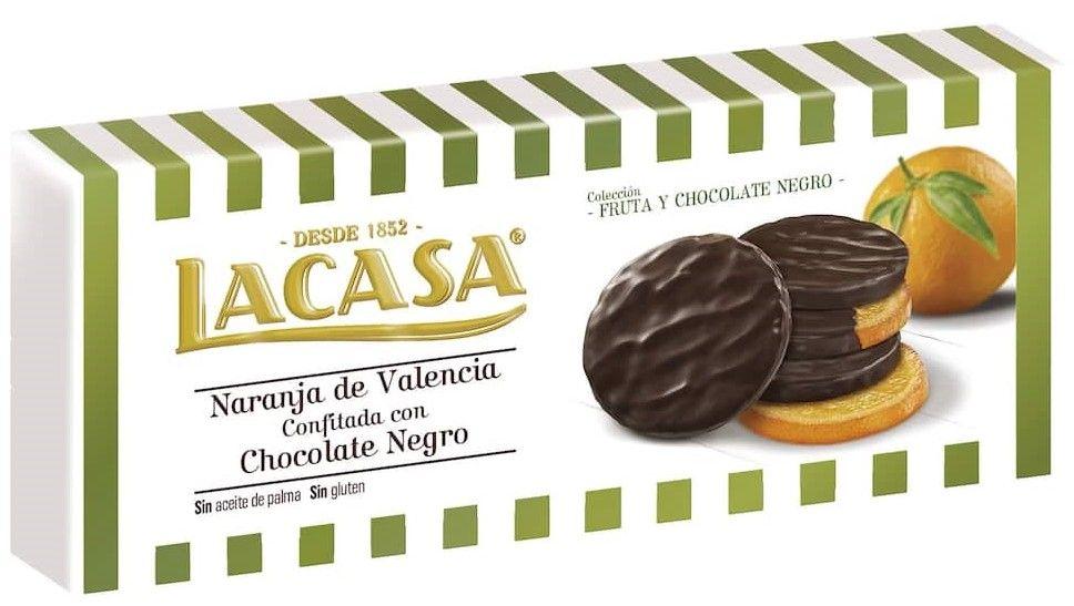 Rodajas de naranja confitadas en chocolate marca LACASA.