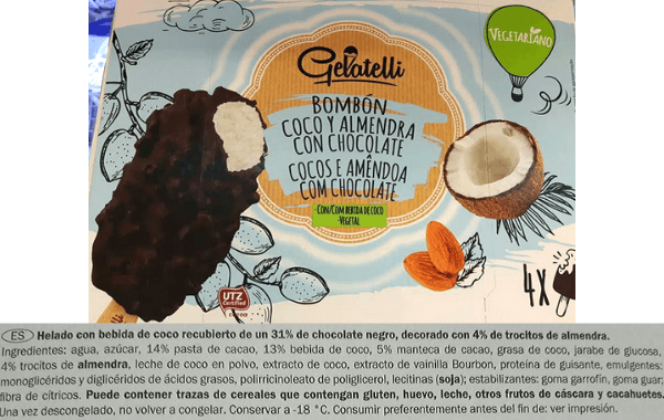 Almendrado vegano Lidl ingredientes