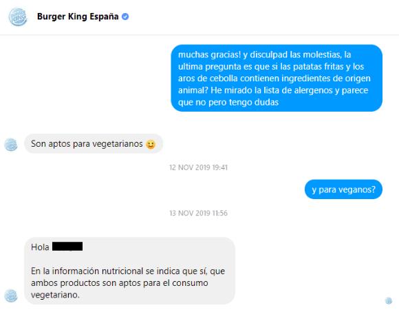 Aros de cebolla veganos Burger King