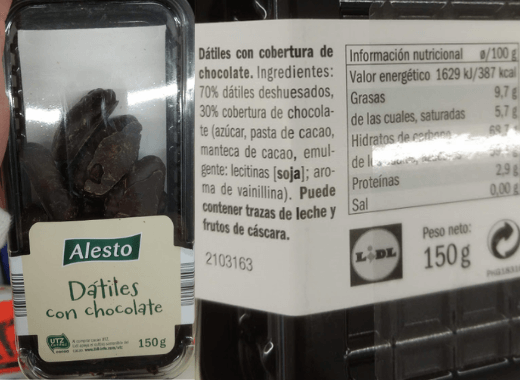 Comida vegana Lidl dátiles con chocolate