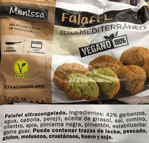 Falafel vegano Lidl ingredientes