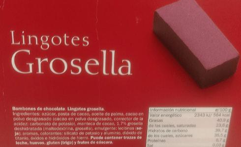 Lingotes grosella veganos Lidl