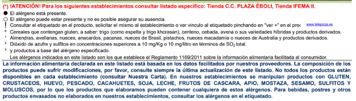 Lista de Alérgenos Telepizza España
