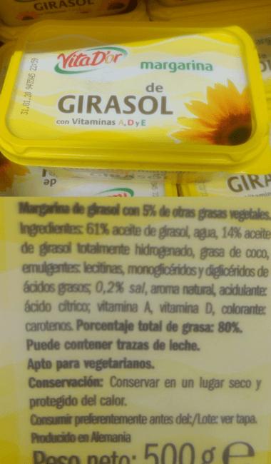 Margarina vegana Lidl Vita d'or