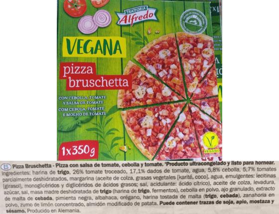 Pizza vegana Lidl ingredientes
