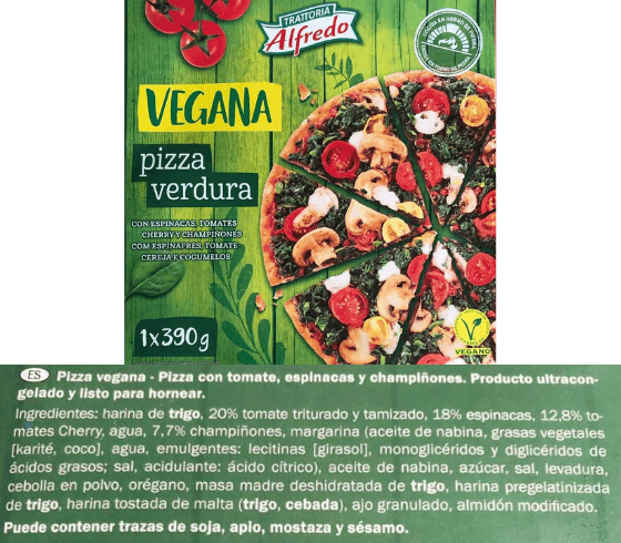 Pizza vegana Lidl calorías