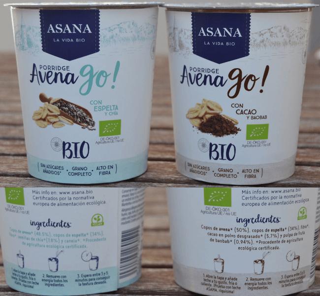 Porridge Avena Go ingredientes Asana