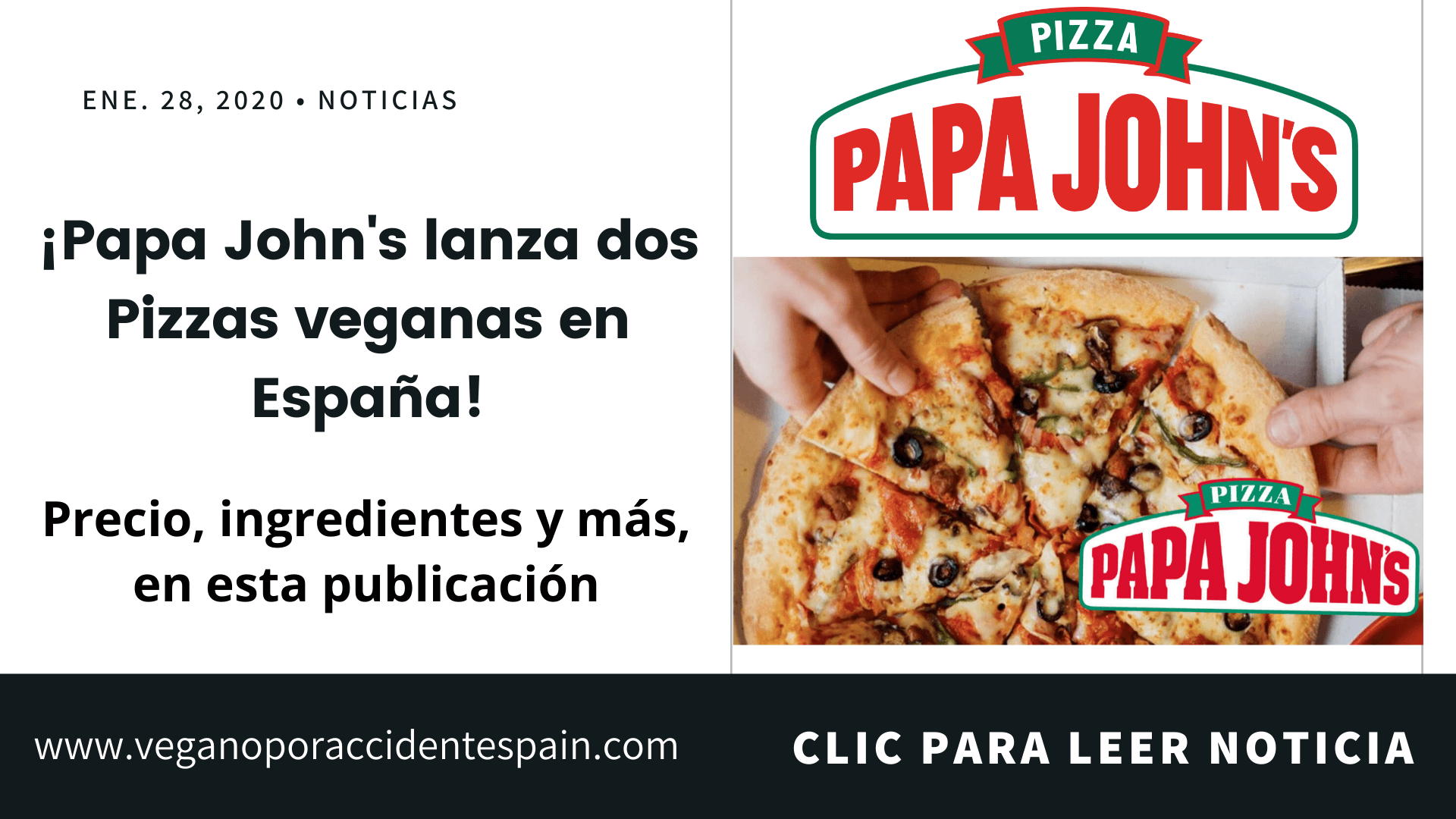 Lanzan pizza vegana en Papa John's España ¡con queso vegano!