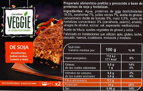 Hamburguesa de soja Carrefour Veggie