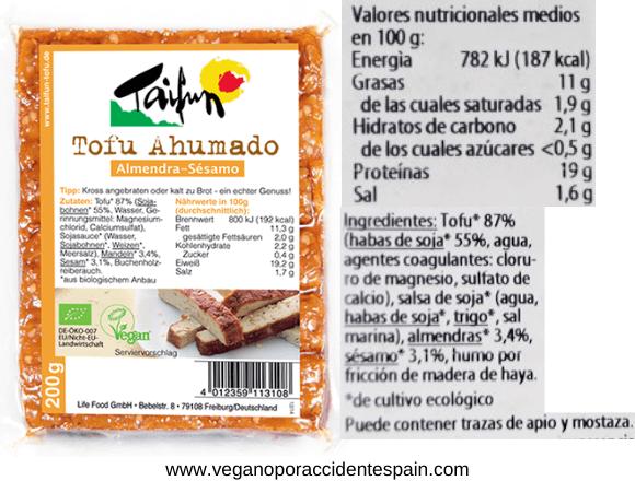 Tofu ahumado Taifun ingredientes