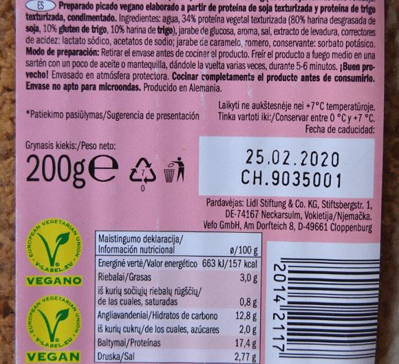 Vega Mince Lidl ingredientes