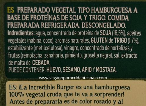 Incredible Burger Ingredientes