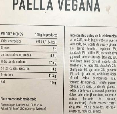 Paella vegana Aldi ingredientes