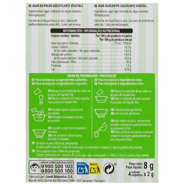Agar agar Mercadona ingredientes y información nutricional