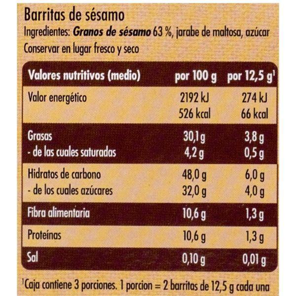Barritas de sésamo Mercadona ingredientes y información nutricional