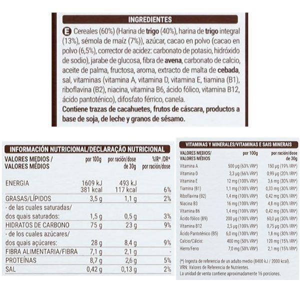 Cereales Chocodays Mercadona ingredientes y información nutricional