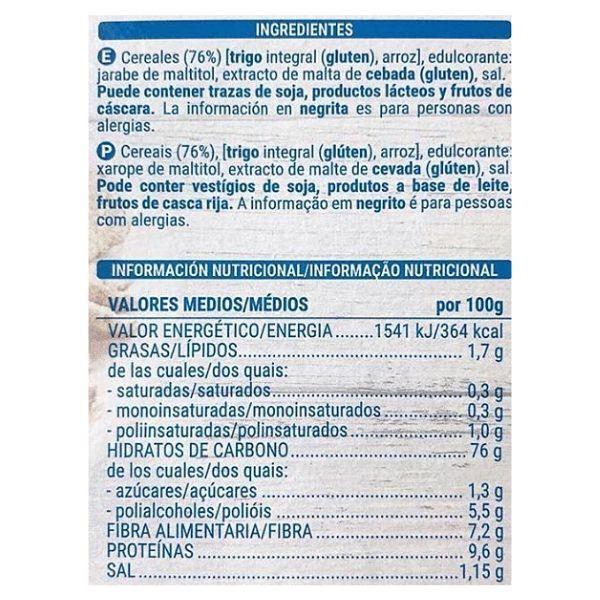 Cereales integrales sin azucar Mercadona ingredientes e información nutricional