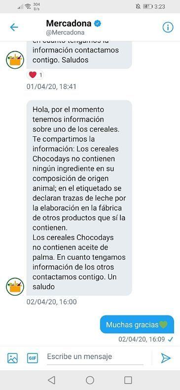 Cereales veganos Mercadona