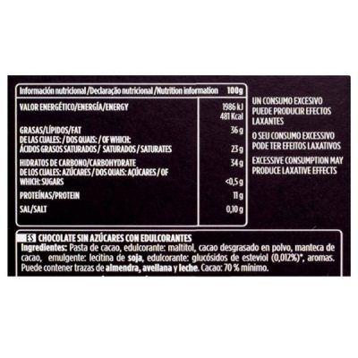 Tableta chocolate 70% cacao sin azúcar Valor