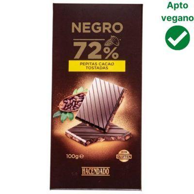 Tableta chocolate 72% con pepitas de cacao tostadas Hacendado (Mercadona)