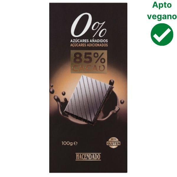 Chocolate 85% sin azúcar Mercadona vegano