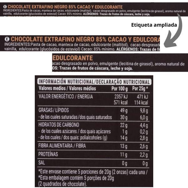 Chocolate-85-sin-azucar-Mercadona-ingredientes y información nutricional