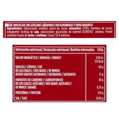 Chocolate con almendras sin azúcar Valor