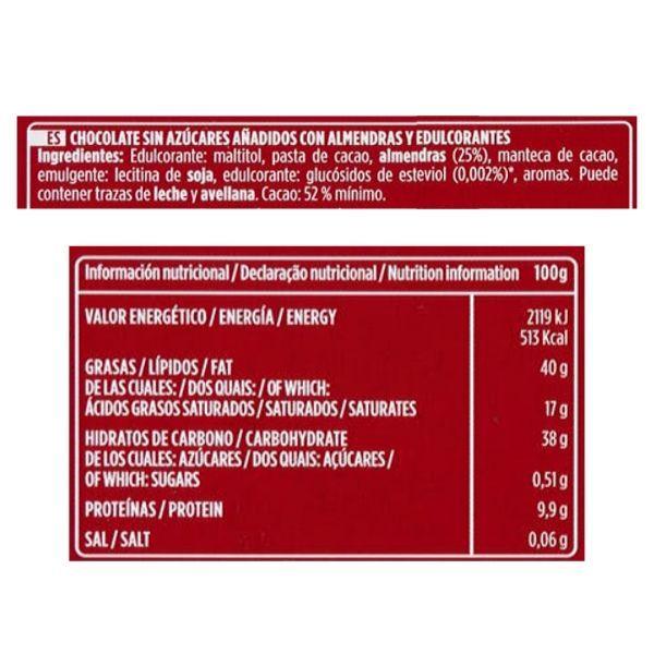 Chocolate con almendras sin azucar Valor ingredientes y información nutricional