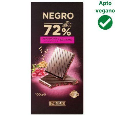 Tableta chocolate negro con arándanos Hacendado (Mercadona)