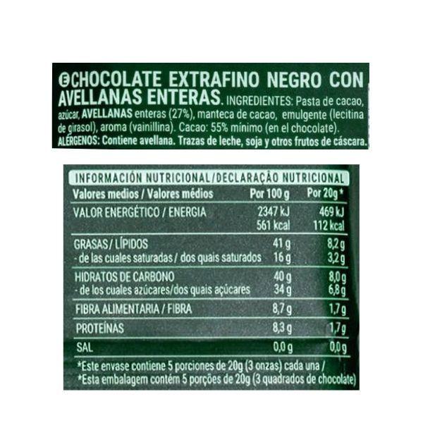 Chocolate con avellanas Mercadona ingredientes y informacion nutricional
