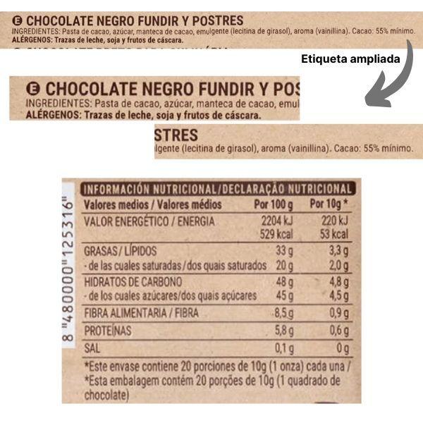 Chocolate negro fundir Mercadona ingredientes y información nutricional