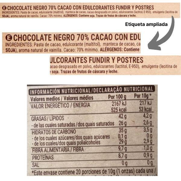 Chocolate negro fundir sin azucar Mercadona ingredientes y información nutricional