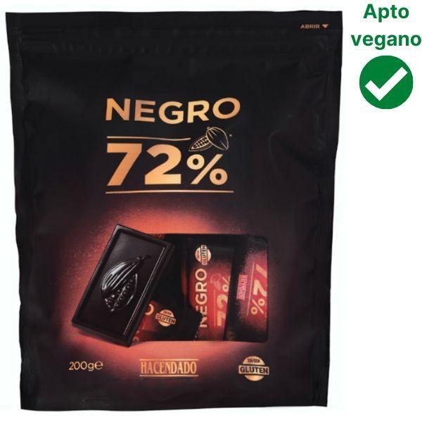 Chocolatinas 72% cacao Mercadona veganas