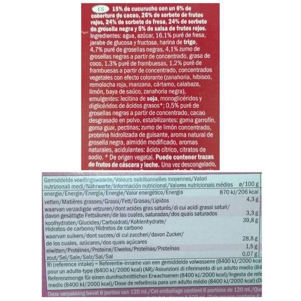 Helado cono frutos rojos Lidl ingredientes y información nutricional