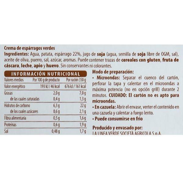 Crema de espárragos Mercadona ingredientes y valores nutricionales