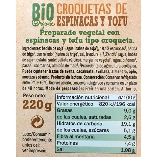 Croquetas espinacas veganas Lidl ingredientes y información nutricional