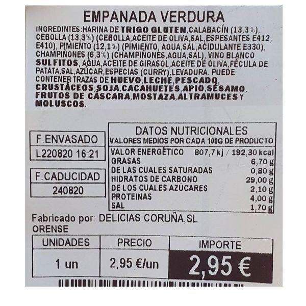 Empanada de verduras Mercadona ingredientes e información nutricional