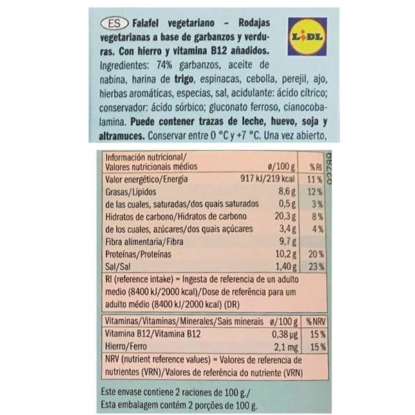Falafel Lidl ingredientes y información nutricional