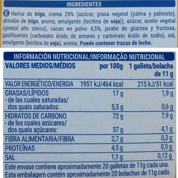 Galletas Caocream Mercadona ingredientes y valores nutricionales