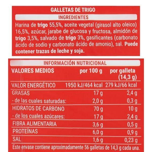 Galletas Digestive Mercadona ingredientes y información nutricional