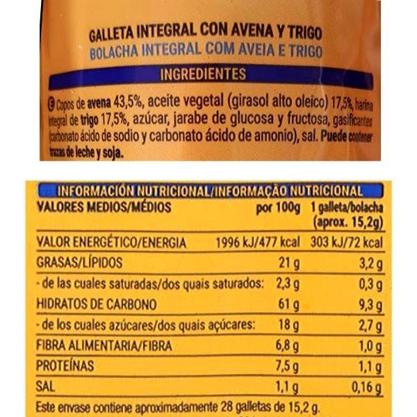 Galletas Digestive avena Mercadona ingredientes y información nutricional