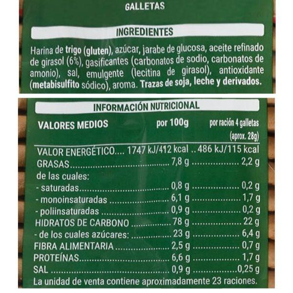 Galletas Maria hojaldradas Mercadona ingredientes y informacion nutricional