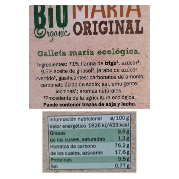 Galletas Maria bio Lidl ingredientes e información nutricional