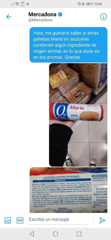Galletas Maria sin azúcar Mercadona veganas